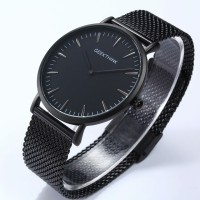 Quartz watch Casual men Japan stainless steel strap ultra thin 2016