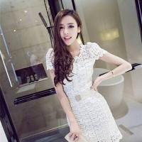 harga CC1938 dress putih berlengan lace brukat cotton import polos Tokopedia.com