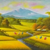 lukisan pemandangan sawah