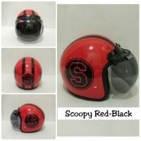 Helm Retro bogo scopy warna merah list hitam kaca bogo original