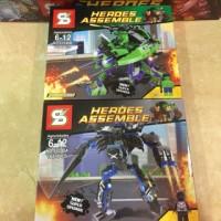 Lego kw Kendaraan/robot Black panther vs hulk sy 248