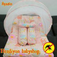 set kasur bayi kelambu lipat/bantal guling/baju bayi/popok/selim SCEM