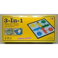 Magnetic Board Game 3 in 1, Ludo,Halma,Ular Tangga, Mainan Edukatif