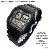 jam tangan QnQ digital countdown timer list hitam full set