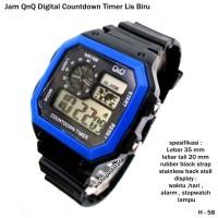 jam tangan QnQ digital countdown timer list biru full set