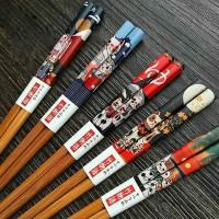 Colorful Cartoon Cat Wood Sakura Chopsticks Set of 5 Pairs Gift.