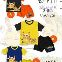 Baju Setelan Anak Pokemon Pikachu 2-8thn, Bahan Halus Dan Adem.