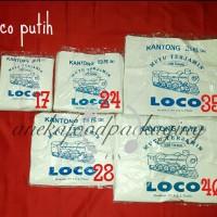 Kantong plastik LOCO putih uk. 17, 24, 28, 35 & 40