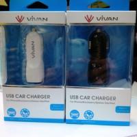 Jual cas mobil dual 2 output VIVAN car charger Input 12-24V 800mAh Murah