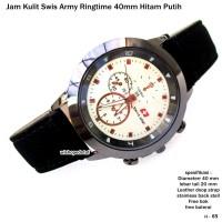 jam tangan kulit swis army ringtime 40mm hitam putih full set