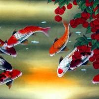 Lukisan Painting Ikan Koi dan Buah Leci Hoki Feng Shui