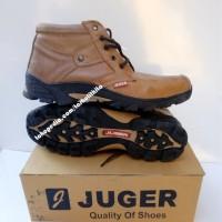 Sepatu Boot Pria Kulit Sapi Asli JUGER Coklat Branded Casual G1