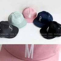 initial inisial nama huruf tumblr baseball cap topi custom impor korea