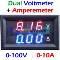 Combo Amperemeter + Voltmeter Digital Lengkap Frame 0-100V 10A Dual Ammeter Volt Meter Pengukur Tegangan Arus Bingkai 0.28in LED