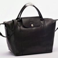 Tas Longchamp Le Pliage Cuir MEDIUM Tote Hitam P502992