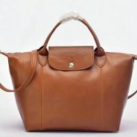 Tas Longchamp Le Pliage Cuir MEDIUM Tote Coklat muda P502992