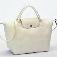Tas Longchamp Le Pliage Cuir MEDIUM Tote putih P502992