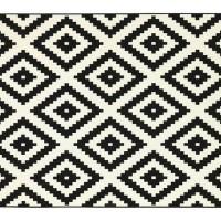 IKEA LAPPLJUNG RUTA Karpet - Bulu tipis, hitam / putih, 200x200 cm