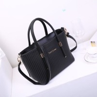 175121 BLACK TAS TENTENG HITAM HAND BAG FASHION CANTIK GARIS LINE GOSH