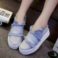 Jual sepatu wanita denim kanvas terbaru murah flat kets casual js1 Murah