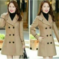 Jual jaket baju hangat coat mantel wanita korea jessie cream & navy Murah