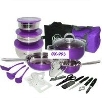 33 pcs Travel cookware set with bag OX-993 warna ungu/merah
