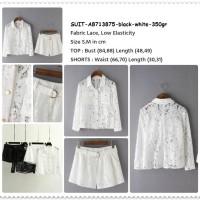 Set Baju Kemeja Celana Pendek Shorts Wanita Korea Import Putih Hitam
