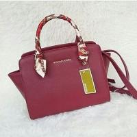 Tas wanita cewek branded handbag Michael Kors MK Selma Red Maroon