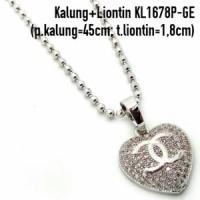 KL1678P-GE Kalung + Liontin Chanel Perhiasan Lapis Emas Putih