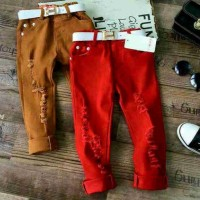 RIPPED JEANS BRANDED Celana Sobek Red Ikat Pinggang Import Hermes