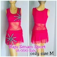 Baju Senam Wanita Pink Rok Bra Setelan Olahraga Gym Fitness M L XL Red