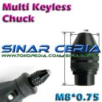 Multi Chuck Keyless Tanpa Collet utk Mini Grinder Bor Dremel M8x0.75