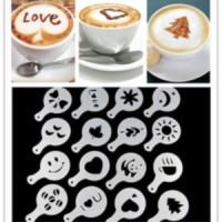 Jual coffee latte art tools, cetakan kopi,cappucino,alat barista 16 pcs set Murah