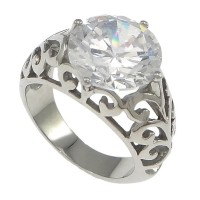 cincin cowok pria titanium permata putih topaz berlian / cs 105