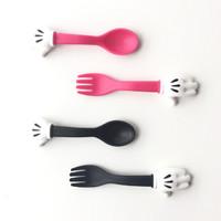 Set sendok garpu anak motif telapak mickey mouse lucu - kkn003
