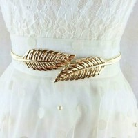 Vintage Elastic Women Belt Leaf Design Metal Waist Belt Gold Silver
