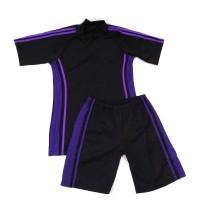 Baju Renang Dewasa Setelan Celana Diving Pria Hitam Garis Ungu