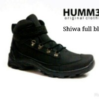 Sepatu Boots Tracking Pria ORIGINAL Hummer Shiwa Full Black Washing