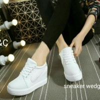 harga Sepatu Sneakers Wedges Wanita Ghost White Casual Reseller Sepatu Murah Tokopedia.com