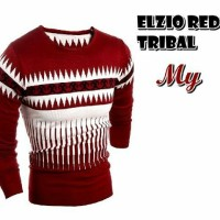 Elzio Red Tribal Sweater