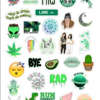 sticker tumblr green pack (cutting)