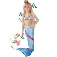 Jual mermaid Putri Duyung Mermaid tail Blue Frozen size XL 11-13 th Murah