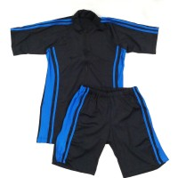Baju Renang Dewasa Setelan Celana Diving Pria Hitam Garis Biru