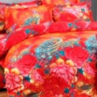 Bedcover Set Katun Jepang Red Peacock 200x200x25
