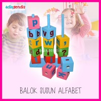 Balok Susun Alfabet Huruf Mainan Edukasi Edukatif Anak Puzzle Kayu