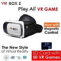 Jual VR Box 2 + V02 w/ Magnetic Button, Cardboard virtual reality glasses Murah