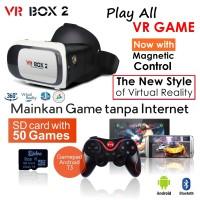 Jual VR Box 2 +T3+V02 - w/ Magnetic Button, Google Cardboard glasses Murah