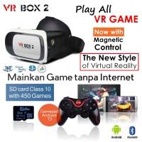Jual VR Box 2 +T3+M01 - w/ Magnetic Button, Google Cardboard glasses Murah