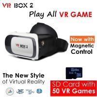 Jual VR Box 2 + V02 w/ Magnetic Button, Cardboard virtual reality glasses Murah