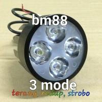 Lampu Tembak Sorot Led Luxeon 4 Mata Bracket spion 3 Mode
